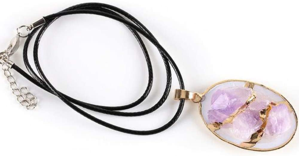 SYSFOUR Natural Púrpura Cristal Cuarzo Joyas Reales Piedras Preciosas Colgante Collar Huevo Forma Shell Encantos Color Oro Cobre Joyería E264, Collar de Oro