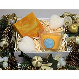 Prosecco & Clementine Gift Set. Bath Bombs,Soap,Candle.Handmade by Fizzy Fuzzy.