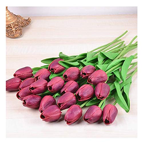 SHINE-CO LIGHTING PU Real Touch Tulips Artificial Flowers 10 Pcs Flowers Arrangement Bouquet for Home Office Wedding Decoration (Wine Red)