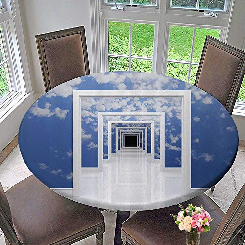 Cheap  Mikihome Round Tablecloths Sky with Clouds Walls of Doorless Entrances Futuristic Architecture..