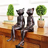 2pcs/lot rural retro old style rusty cat ornaments vintage home decorations resin animal figurine statues