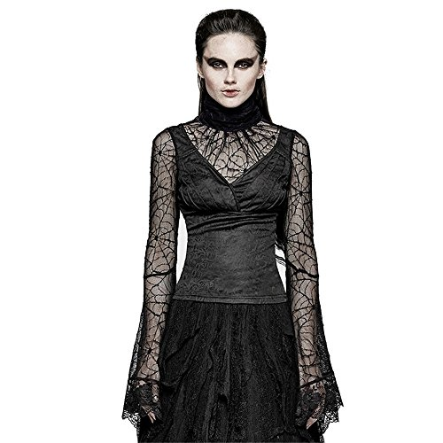 Gothic Spider Web Flare Sleeve T-shirts Sexy Ladies Lace Long Sleeve Shirts Transparent Undershirts (XS) Spider Web Lace Long Sleeve