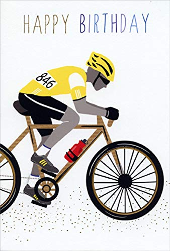 Pictura Yellow Competitive Bicycler Sara Miller Birthday Card for Him/Man ()