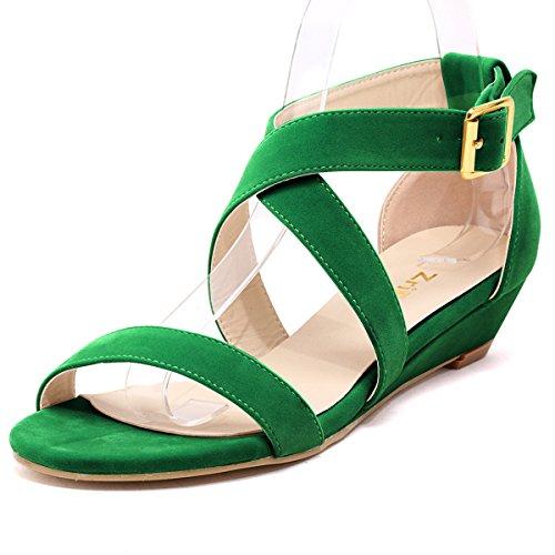 ZriEy women's Classic Ultra Comfort Sexy Low Heel Sandals Velvet Green size 8.5 /39 M EU