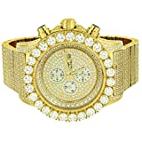 Master Of Bling Watch Iced Out Hip Hop Lab Diamonds Stainless Steel 14k Gold Plated