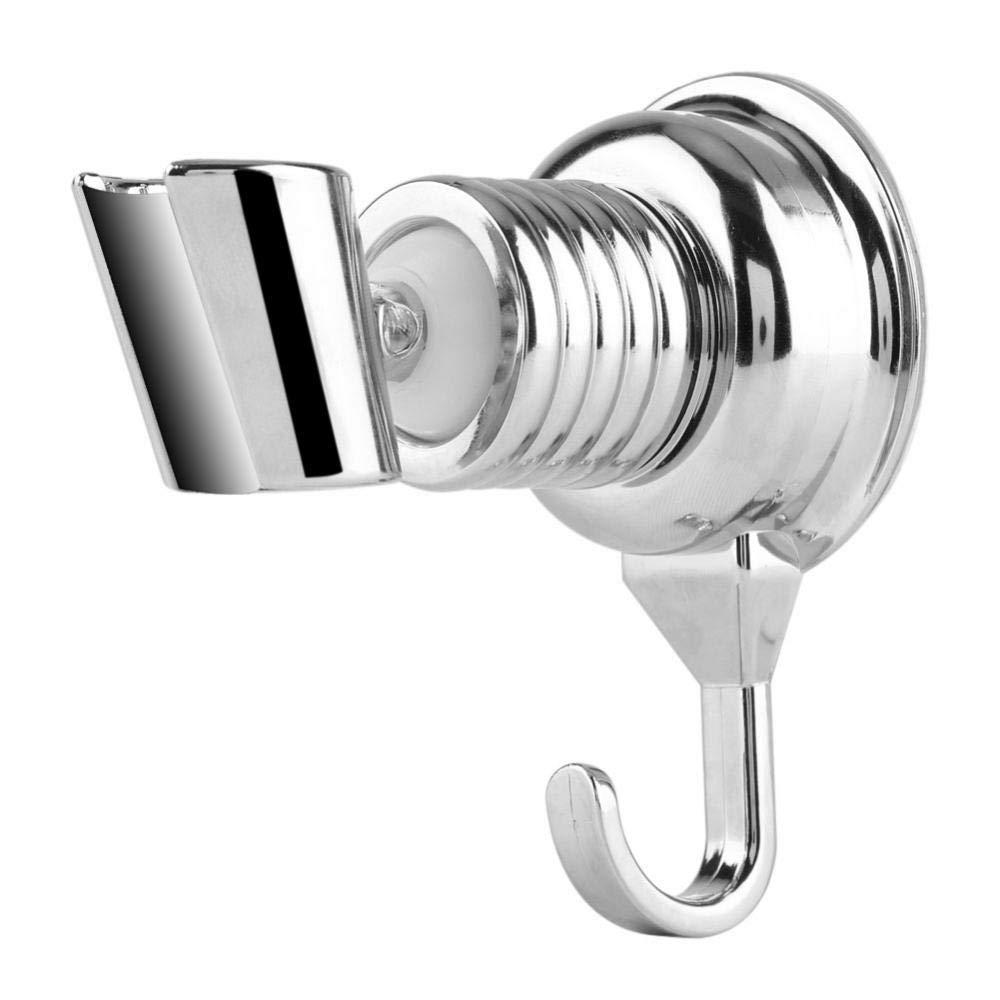 Adjustable Shower Head Holder Strong Suction Cup Adjustable Shower Head Holder with Towel Hook Bathroom Wall-Mount Bracket Yosooo