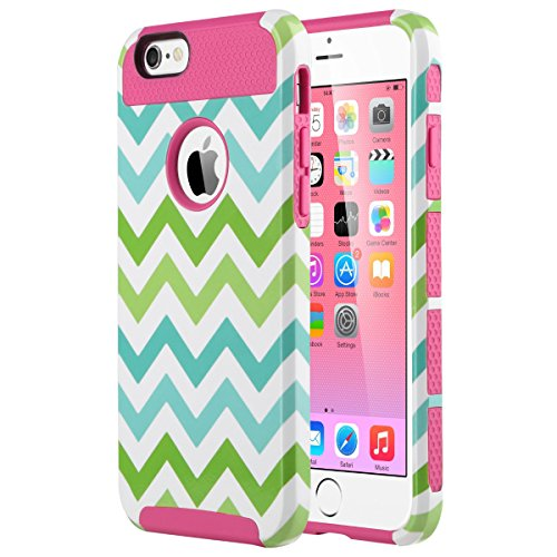 ULAK 2in1 Hybrid Case with Soft TPU and Hard PC Design for Apple iPhone 6S & iPhone 6 4.7 inch (2 IN 1 Wave-Rose Pink)