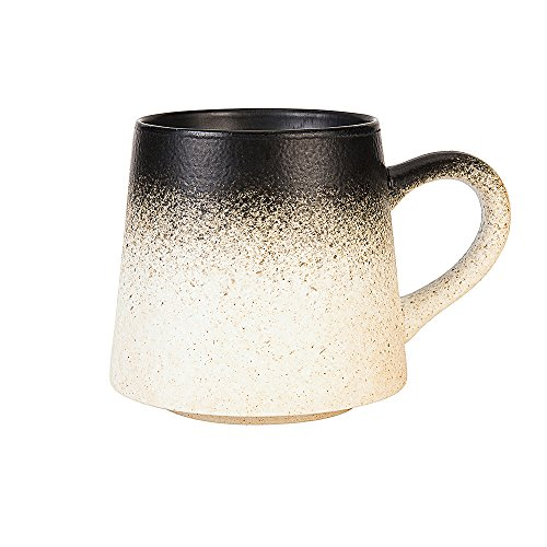 Vitaa-Handmade Ceramic Mug Clay Cup with Handle Natural Earthenware Eco Friendly Tea Coffee Lead Free Pottery Handcrafted Mug,Retro Elegant Matte Cup Perfect Gift For Family and Friend,14oz (White)