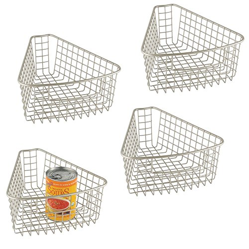 - mDesign Farmhouse Metal Kitchen Cabinet Lazy Susan Storage Organizer Basket with Front Handle - Small Pie-Shaped 1/8 Wedge, 4.2