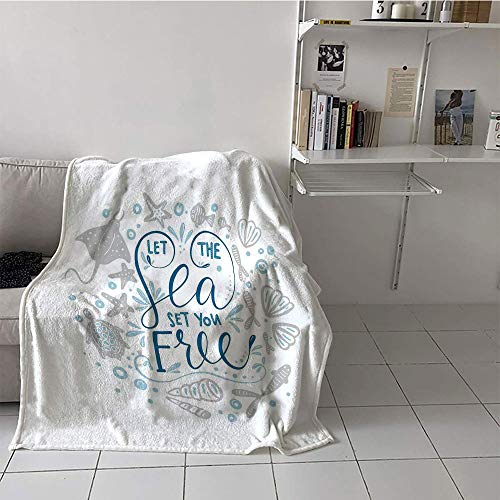 Stingray Pearl - alilihome Children's Blanket Lightweight Digital Printing Blanket (50 by 70 Inch,Nautical,Let The Sea Set You Free Quote with Shellfish Turtle and Stingray,Pearl Navy Blue Pale Blue