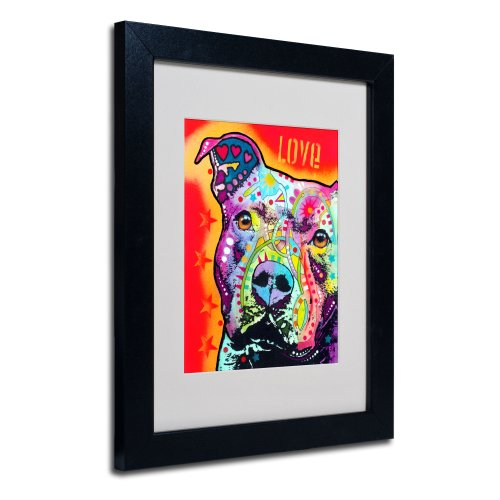Thoughtful Pit Bull Matted Artwork by Dean Russo with Black Frame, 11 by 14-Inch