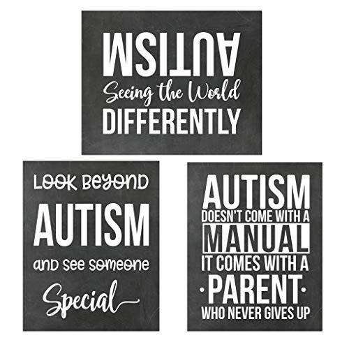 Simply Remarkable Set of 3 Chalkboard Autism Prints - Autism Poster Print Autistic Spectrum Motivational Decor Autism Awareness (8x10, Set of 3)