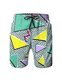 ruelen2 Mens Retro Vintage 80S 90S Fashion Style Design Summer Quick Dry Beach Pants