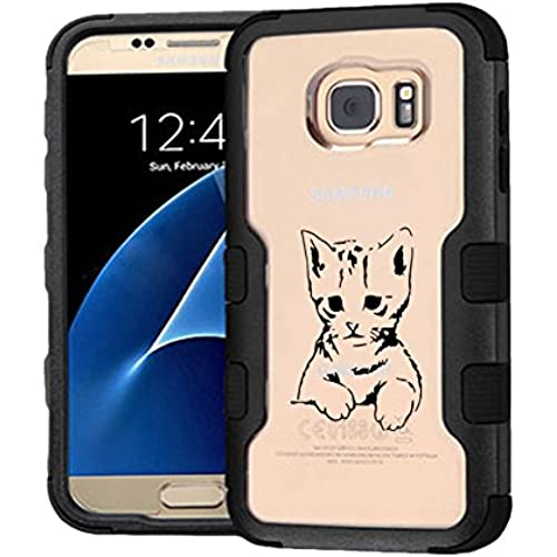 Galaxy S7 Case Gloomy Cat, Extra Shock-Absorb Clear back panel + Engineered TPU bumper 3 layer protection for Samsung Galaxy S7 (New 2016) Black Cover (Gloomy Sales