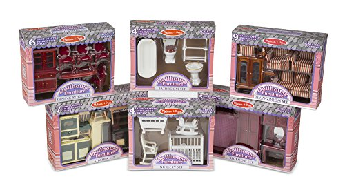 ic Victorian Wooden and Upholstered Dollhouse Furniture (35 pcs) ()