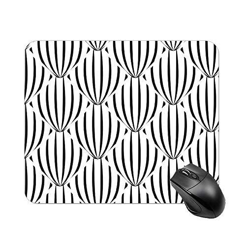 Atunme Mouse Pad Dahlia Symmetry Line Black-and-White Customized Rectangle Non-Slip Rubber Mousepad Fantasy Mousepad]()