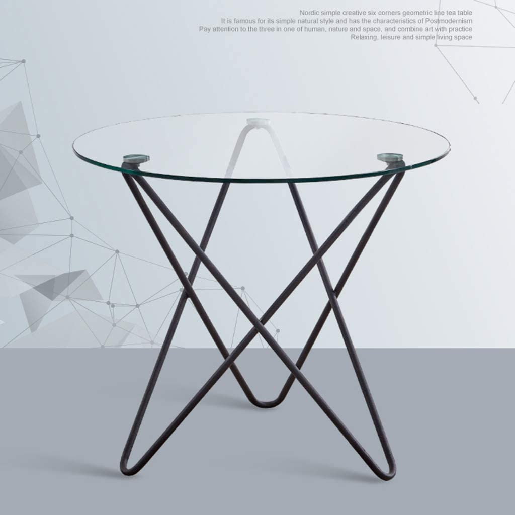 - Modern Minimalist Tempered Glass Coffee Table, Round Wrought Iron