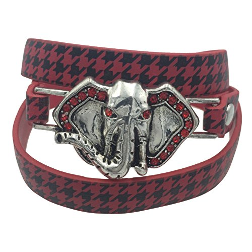 (Gypsy Jewels Houndstooth Print Elephant Head Rhinestones Silver Tone Wrap Around Snap Bracelet)