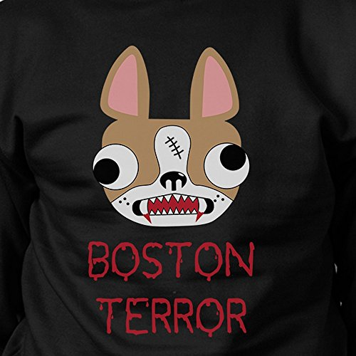 Printing Terror larga de Terrier Black mujer 365 One manga Size para Sudadera Boston dwqUvU