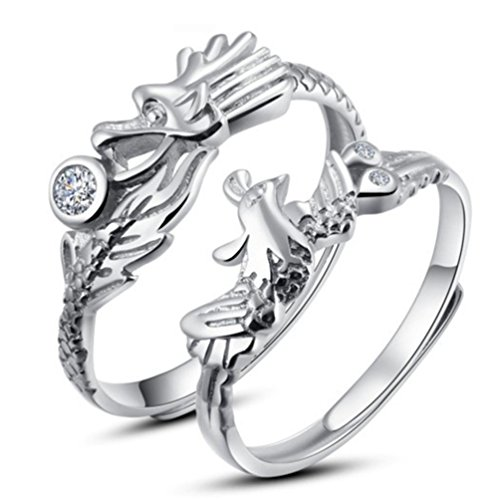 Sojewe Couples 925 Sterling Silver Dragon Phoenix Wedding Adjustable Ring Opening Inlay Cubic Zirconia White Gold Plated