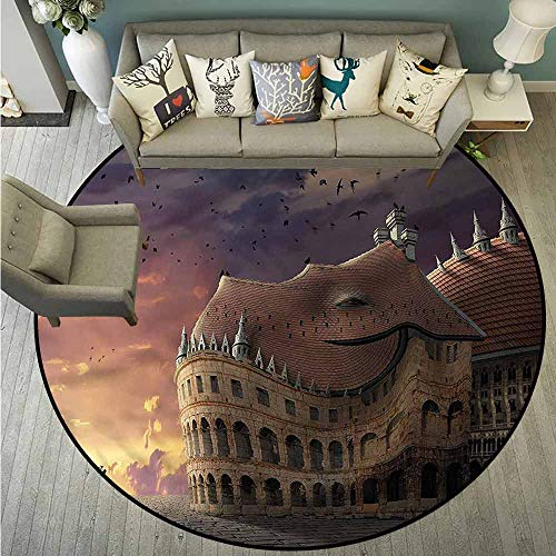 - Living Room Round Rugs,Kids,Kids Fairytale Theme,Super Absorbs Mud,2'11