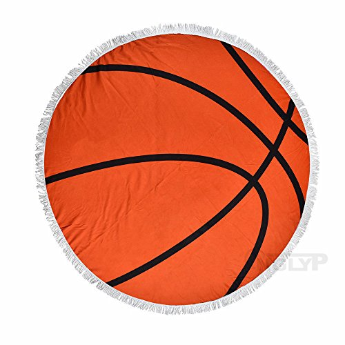 X.Sem 62'' Baseball Softball Design Massiness Tapestry Beach Towel Round Mandala with Tassel Fringing Beach Throw Roundie Sports Yoga Mat Table Cloth Large Blanket (Basketball)
