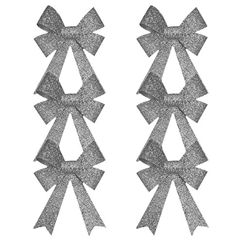 6 x Silver Sparkling Bows Christmas Tree Decoration Accessories
