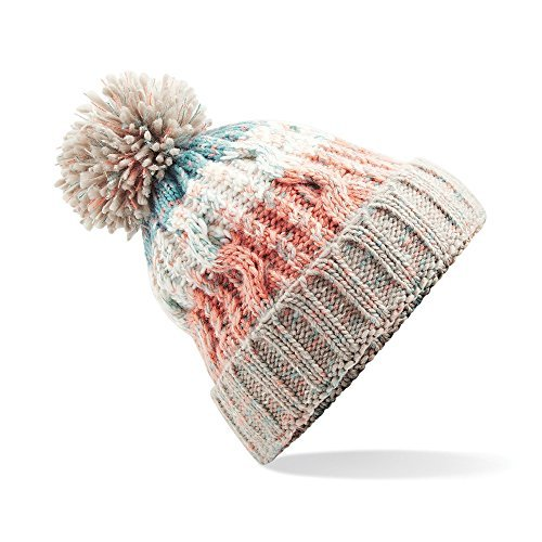 Beechfield Unisex Adults Corkscrew Knitted Pom Pom Beanie Hat (One Size) (Milkshake Mix)