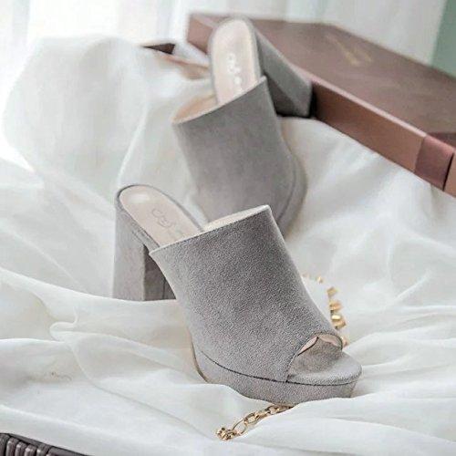 Donyyyy Zapatos de mujer, verano de tacón alto, zapatos, boca de pescado femenina inferior grueso Impermeable y zapatos de mujer. Thirty-eight