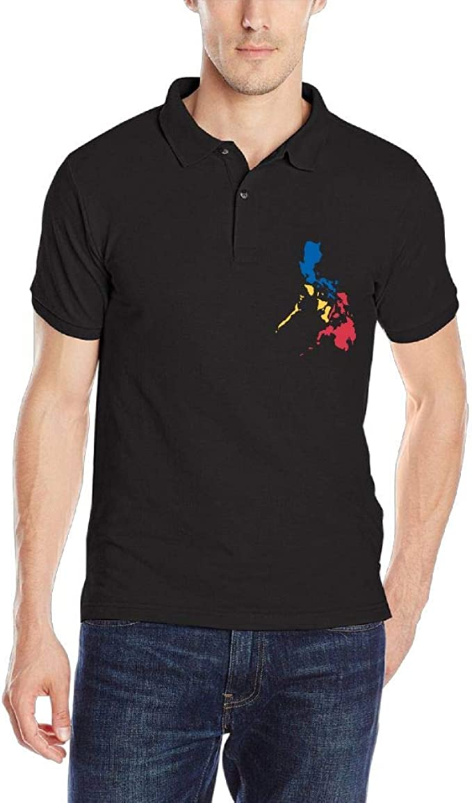 DAD97KHG Filipino Map Philippines Flag2 Mens Short Sleeves Polo T Shirt