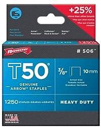 "Arrow T50 38"" Staples, 1250 Count"