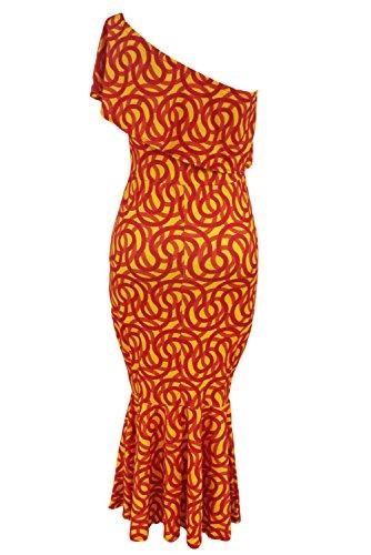 Mesdames rouge et orange imprimé cercles volants une épaule robe Midi Taille S UK 8–10EU 36–38