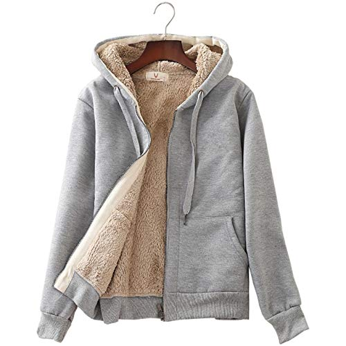 Flygo Women's Classic Casual Thick Warm Full Zip Sherpa Lined Hooded Sweatshirt Jacket (Medium, Light Grey)