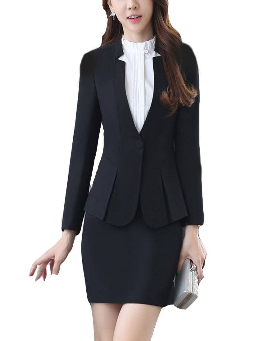 MFrannie Women Curved V Neck Long Sleeve Suit Jacket and Skirt 2 Pieces Set Black L