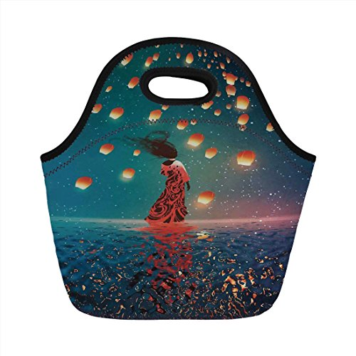 Mod Day Dress - Neoprene Lunch Bag,Fantasy Art House Decor,Sorcerer Woman with Red Dress Standing on Water with Lanterns on Air,Navy Blue,for Kids Adult Thermal Insulated Tote Bags