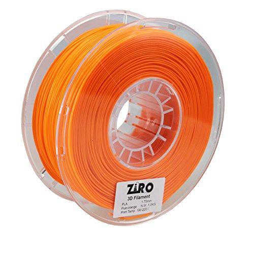ZIRO 3D Printer Filament PLA 1.75 1KG(2.2lbs), Dimensional Accuracy +/- 0.05mm, Fluo orange by ZIRO