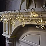 ITART Stainless Steel Start String Lights Christmas Decoration Fairy String Lights Battery Operated 10 LEDs Christmas Décor Indoor Outdoor Home Garden Festival Wedding Party Starry Lighting