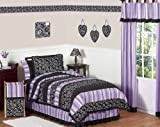 Purple and Black Kaylee Childrens, Kids, Teen 3 Piece Full / Queen Girls Bedding Set