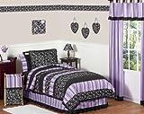 Sweet Jojo Designs 3-Piece Purple and Black Kaylee Children's, Kids, Teen Full / Queen Girls Bedding Set
