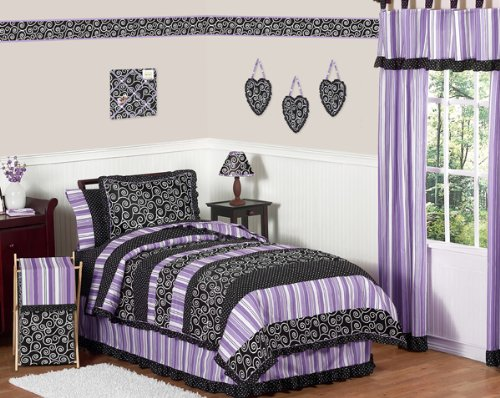 Sweet Jojo Designs Queen Bed Skirt for Purple and Black Kaylee Children's Teens Bedding Sets