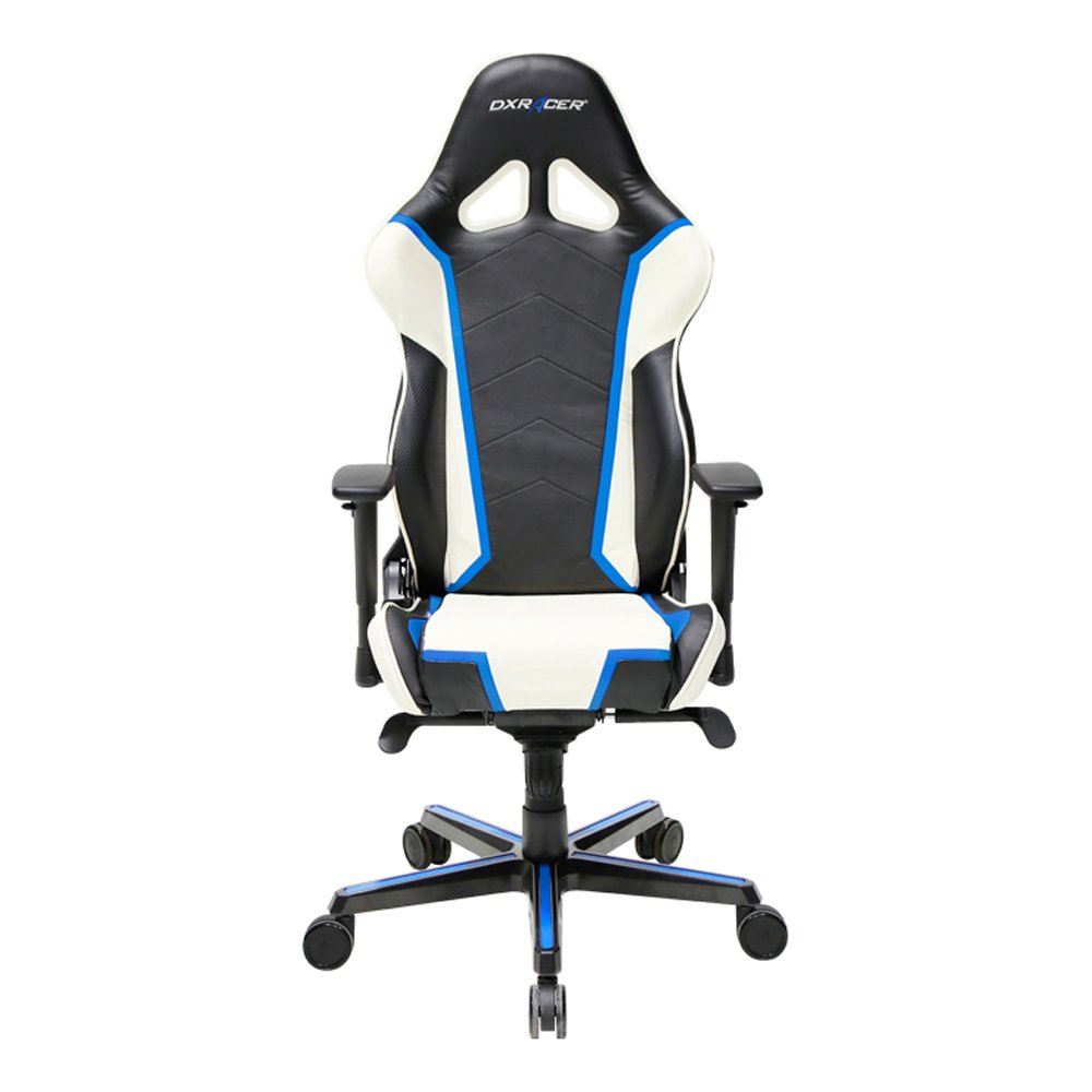 Premium DXRacer Racing Bucket Gaming Chair – Ergonomic & Comfortable – Desk & Executive PVC Chair With Padded Pillows – Color: Black/White/Blue– Series: Racing DOH/RH110/NWB Newedge Edition
