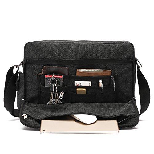 Mlife Men Brand Multi-Pockets Canvas Messenger Bag 15.6 inch Laptop Shoulder Bag (Black- - 5 Sunglass Top Brands