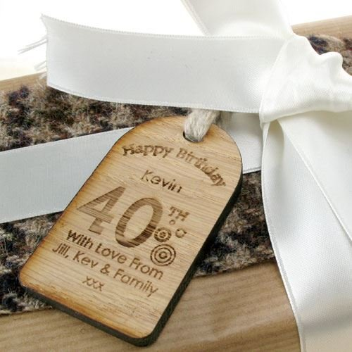 40th Birthday Gifts For Men Novelty Gift Tags Wooden
