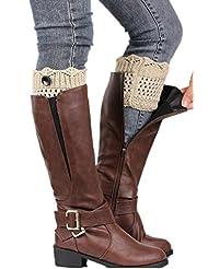 YACUN Women's Button Leg Warmer Knit Boot Socks Beige F