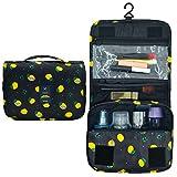 Portable Hanging Travel Toiletry Bag Waterproof Makeup Organizer Cosmetic Bag Pouch For Women Girl (Black-Lemon)