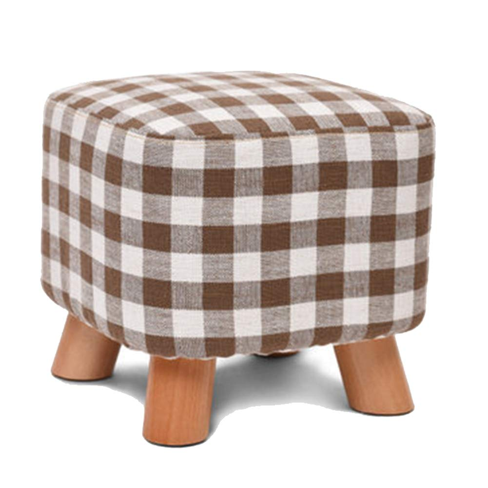 D 282825CM Stool Coffee Table Stool Solid Wood Fabric Square Stool, Removable Cloth Cover, Kitchen Bedroom Living Room,B,28  28  25CM
