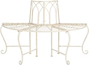 "Safavieh PAT5018A Collection Abner Antique White Wrought Iron 45.75"" Outdoor Garden Bench"