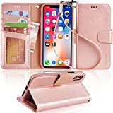 Arae Case for iPhone X/Xs, Premium PU Leather Wallet Case [Wrist Straps] Flip Folio [Kickstand Feature] with ID&Credit Card Pockets for iPhone X (2017) / Xs (2018) 5.8' (not for Xr) - Rose Gold