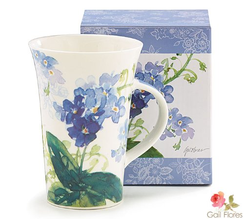 Forget Me Nots Blue Floral Coffee Mug Blue Flower Cup