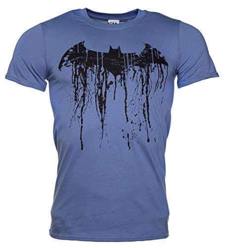 Mens Blue Batman Graffiti Logo T Shirt, Blue, Medium